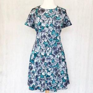 Eloquii Floral Pattern Scuba Knit Dress